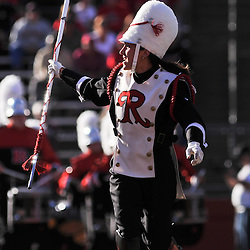Sep 19, 2009; Piscataway, NJ, USA; The Rutgers Marching Band drum major pumps up the crowd for the band's performance before the first half of NCAA college football between Rutgers and Florida International at Rutgers Stadium.