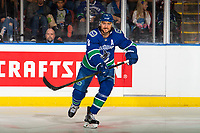 KELOWNA, BC - SEPTEMBER 29:  Christopher Tanev #8 of the Vancouver Canucks completes a pass against the Arizona Coyotes at Prospera Place on September 29, 2018 in Kelowna, Canada. (Photo by Marissa Baecker/NHLI via Getty Images)  *** Local Caption *** Christopher Tanev;