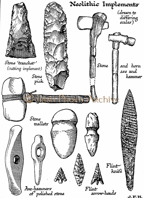 Neolithic implements of stone, flint and horn. Woodcut c1890