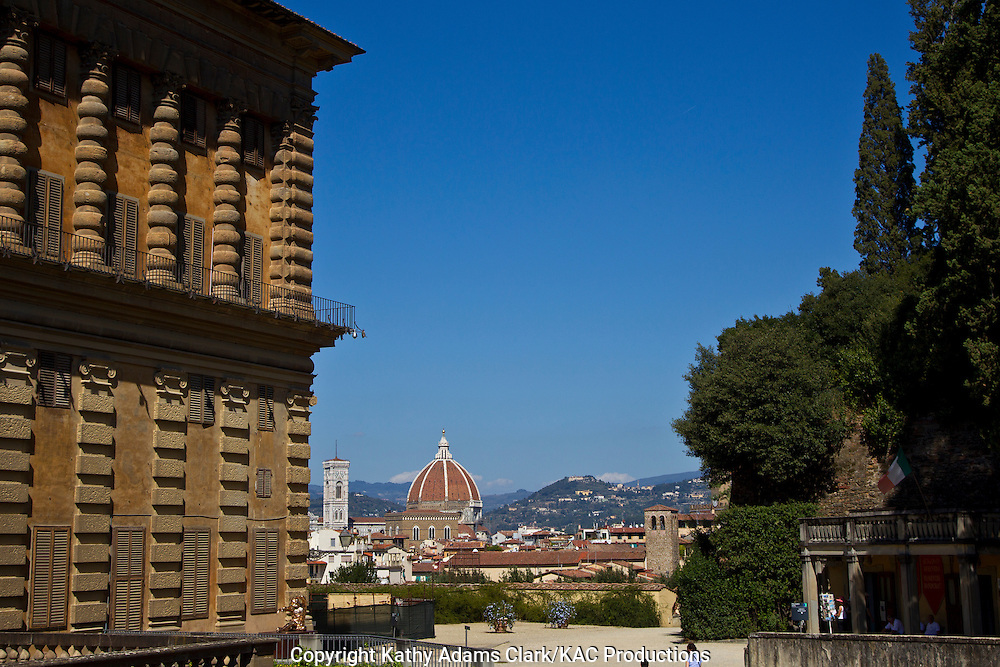 View of Florence skylline and Santa Maria del Fiore, from the Palazzo Pitti, Florence, Firenze, Italy.