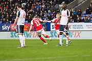 Fleetwood Town midfielder Josh Morris celebrates his goal to make it 2-1 during the EFL Sky Bet League 1 match between Bolton Wanderers and Fleetwood Town at the University of  Bolton Stadium, Bolton, England on 2 November 2019.