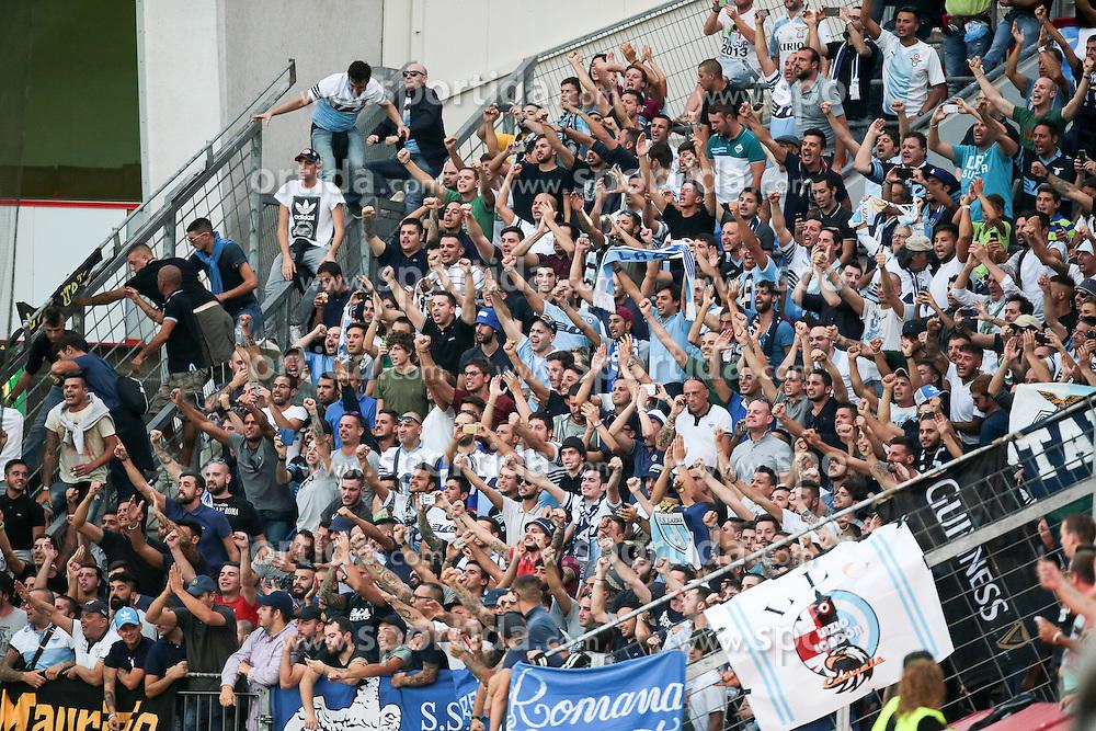 26.08.2015, BayArena, Leverkusen, GER, UEFA CL, Bayer 04 Leverkusen vs Lazio Rom, Playoff, R&uuml;ckspiel, im Bild Fans von Lazio Rom // during UEFA Champions League Playoff 2nd Leg match between Bayer 04 Leverkusen and SS Lazio at the BayArena in Leverkusen, Germany on 2015/08/26. EXPA Pictures &copy; 2015, PhotoCredit: EXPA/ Eibner-Pressefoto/ Deutzmann<br /> <br /> *****ATTENTION - OUT of GER*****