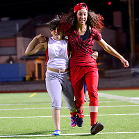 100213  Adron Gardner/Independent<br /> <br /> Gallup High School juniors Kristy Ramirez, left, and Alena Gaze race to the finish in the &quot;three-legged race&quot; during the class games at Public School Stadium Wednesday.