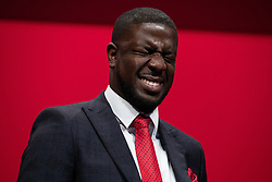 © Licensed to London News Pictures . 24/09/2019. Brighton, UK. JERMAIN JACKMAN sings an introduction to Jeremy Corbyn before Corbyn delivers the leader's speech a day early , on the fourth day of the 2019 Labour Party Conference from the Brighton Centre , after the Supreme Court ruled that Boris Johnson's suspension of Parliament was unlawful . Photo credit: Joel Goodman/LNP