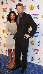 KONNIE HUQ AND CHARLIE BROOKER attends the British Comedy Awards at Fountain Studios, London, England, December 12, 2012. Photo by i-Images.