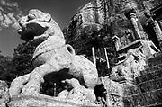 "Sri Lanka.<br />The ruins at Yapahuwa with the stone steps and the 'Yapahuwa Lion""."