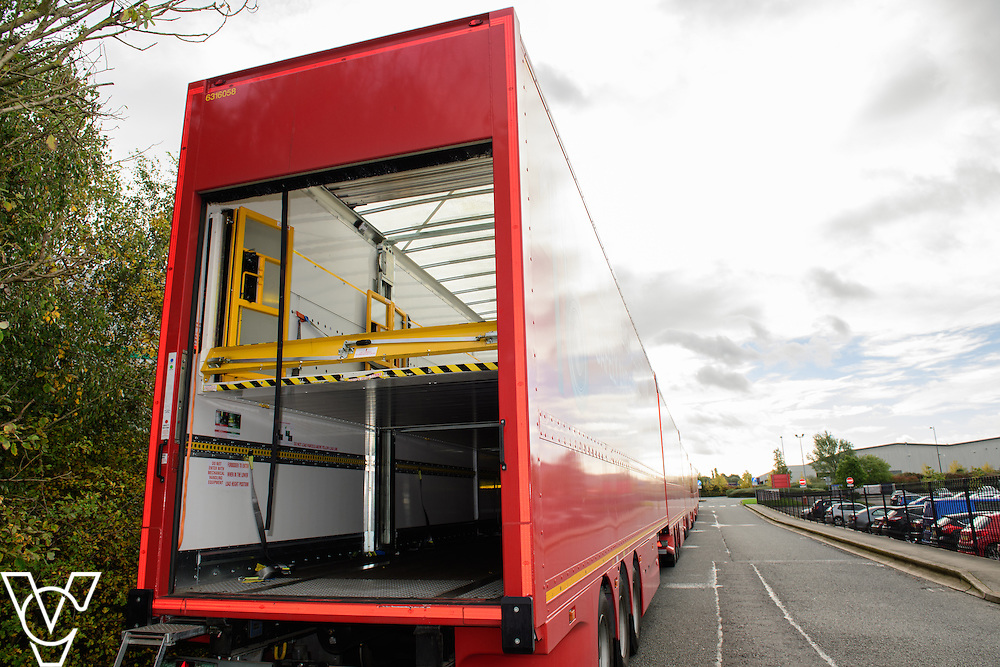 Pictured is one of the double decker trailers - 95's<br /> <br /> Royal Mail is rolling out 400 new double decker trailers (called 95's), which feature a rising platform to provide two layers of storage.   They are currently used for transporting Yorks, but at the end of October, Yorkshire Distribution Centre is going to use them to loose load 16,000 packages - double the current capacity of the single trailers.<br /> <br /> Picture: Chris Vaughan Photography<br /> Date: October 17, 2016