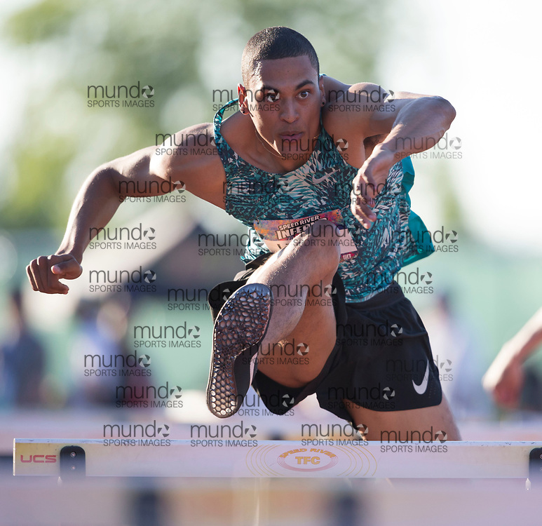 (Guelph, Canada---07 June 2019) Pierce Lepage running in the 110m hurdles at the 2019 Speed River Inferno Track and Field Festival held at Alumni Stadium at the University of Guelph. Copyright image 2019 Sean W Burges / Mundo Sport Images