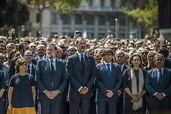August 18, 2017 - Barcelona, Catalonia, Spain - Spanish Vice President of the Government SORAYA SAENZ DE SANTA MARIA, Prime Minister MARIANO RAJOY, KING FELIPE of Spain, Catalan President CARLES PUIGDEMONT and Barcelona's Mayoress ADA COLAU attend a minute's silence for Barcelona's attacks victims after a van ploughed into crowds in Las Ramblas, killing at least 13 people and injuring more than 100 (Credit Image: © Matthias Oesterle via ZUMA Wire)