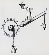 Clockwork driven mechanical axe. Engraving 1617.