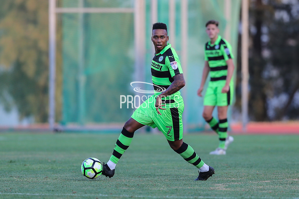 Forest Green Rovers Keanu Marsh-Brown(7) on the ball during the Pre-Season Friendly match between SC Farense and Forest Green Rovers at Estadio Municipal de Albufeira, Albufeira, Portugal on 25 July 2017. Photo by Shane Healey.