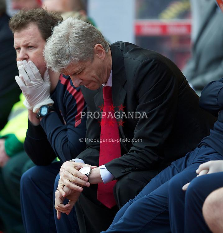 STOKE-ON-TRENT, ENGLAND - Sunday, May 8, 2011: Arsenal's manager Arsene Wenger during the Premiership match against Stoke City at the Britannia Stadium. (Photo by David Rawcliffe/Propaganda)