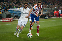Atletico de Madrid's Saul Niguez and Real Madrid's Sergio Ramos during 2014-15 Spanish King Cup match at Vicente Calderon stadium in Madrid, Spain. January 07, 2015. (ALTERPHOTOS/Luis Fernandez)