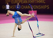 Milena Baldassarri, Italy during ribbon final of the 33rd European Rhythmic Gymnastics Championships at Papp Laszlo Budapest Sports Arena, Budapest, Hungary on 21 May 2017. Her twin Arina took Gold. Photo by Myriam Cawston.