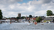 Henley-on-Thames. United Kingdom.  2017 Henley Royal Regatta, Henley Reach, River Thames. <br /> Women's Four. New York Athletic Club. Bow Olivia COFFEY, Kerry SIMMONDS Susan FRANCIA and Felice MUELLER<br /> 10:42:44  Friday  30/06/2017<br /> <br /> [Mandatory Credit. Intersport Images}.