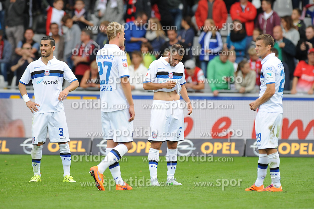 27.09.2015, Schwarzwald Stadion, Freiburg, GER, 2. FBL, SC Freiburg vs FSV Frankfurt, 9. Runde, im Bild (v.l.n.r.) Ehsan Haji Safi (FSV Frankfurt) Lukas Gugganig (FSV Frankfurt) Marc Kruska (FSV Frankfurt) Zlatko Dedic (FSV Frankfurt) // during the 2nd German Bundesliga 9th round match between SC Freiburg and FSV Frankfurt at the Schwarzwald Stadion in Freiburg, Germany on 2015/09/27. EXPA Pictures &copy; 2015, PhotoCredit: EXPA/ Eibner-Pressefoto/ Laegler<br /> <br /> *****ATTENTION - OUT of GER*****