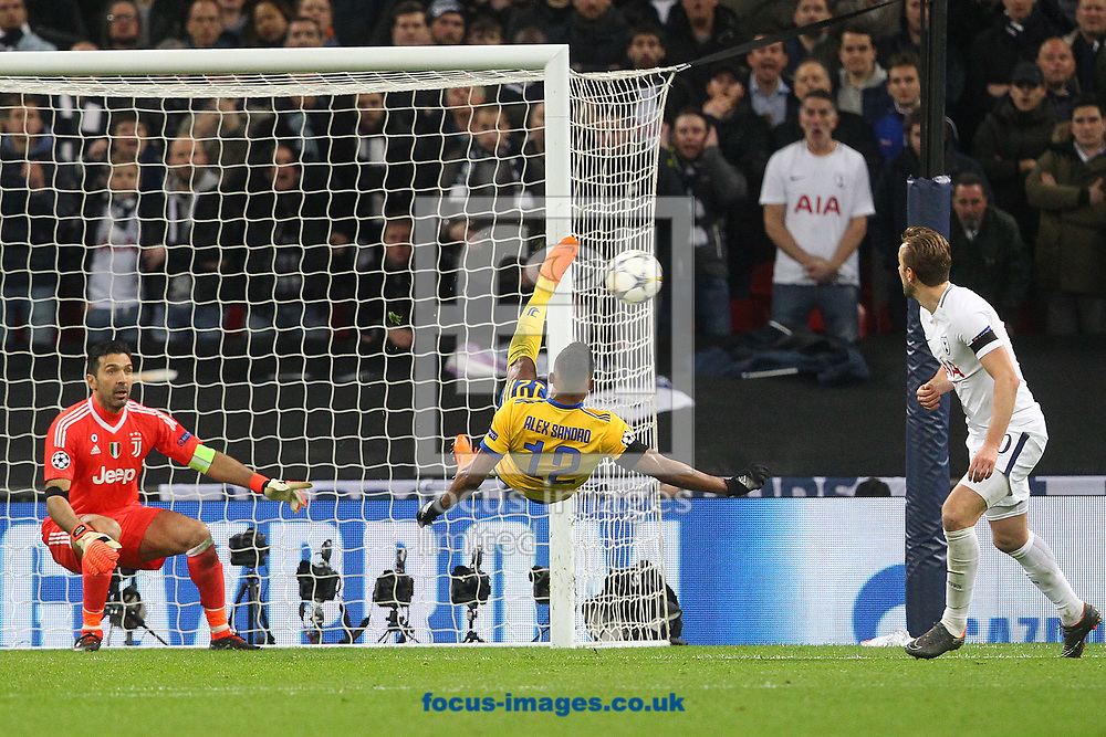 Alex Sandro of Juventus clears the ball acrobatically during the UEFA Champions League match at Wembley Stadium, London<br /> Picture by Paul Chesterton/Focus Images Ltd +44 7904 640267<br /> 06/03/2018