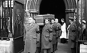 The State Funeral of Sir Alfred Chester Beatty. The remains are carried from St. Patrick's Cathedral on the shoulders of Military N.C.O.s. The coffin is bound for Glasnevin Cemetery.<br /> 29.01.1968