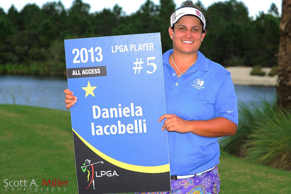 Daniela Iacobelli with the winner's trophy following the Daytona Beach Invitational  at LPGA International on Sep 30, 2012 in Daytona Beach, Florida...©2012 Scott A. Miller