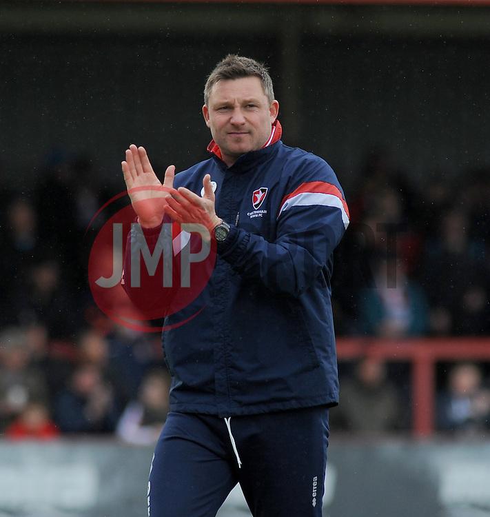 Cheltenham Town Assistant Manager, Steve Elliott applauds fans - Photo mandatory by-line: Nizaam Jones - Mobile: 07966 386802 - 28/03/2015 - SPORT - Football - Cheltenham - Whaddon Road - Cheltenham Town v Plymouth Argyle - Sky Bet League Two