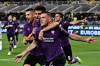 Jordan Veretout of Fiorentina celebrates with Marco Benassi  and Kevin Mirallas of Fiorentina after scoring a goal  on penalty  during the Serie A 2018/2019 football match between ACF Fiorentina and AS Roma at stadio Artemio Franchi, Firenze, November 03, 2018 <br />  Foto Andrea Staccioli / Insidefoto