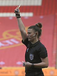 February 23, 2019 - Sheffield, England, United Kingdom - Match referee Lucy Oliver hands out a yellow card to Demi Stokes (Manchester City) during the  FA Women's Continental League Cup Final  between Arsenal and Manchester City Women at the Bramall Lane Football Ground, Sheffield United FC Sheffield, Saturday 23rd February. (Credit Image: © Action Foto Sport/NurPhoto via ZUMA Press)