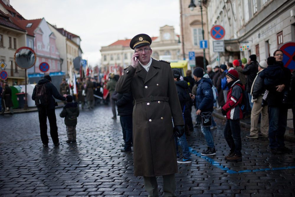 About 10000 Czech citizens accompanied the remains of Vaclav Havel from the Old Town part in Prague across Charles Bridge   up to Prague Castle, the seat of Czech presidents. A representative of the Czech military during the mourning procession in Prague.