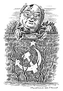 (Soviet President Mikhail Gorbachev as Humpty Dumpty sitting on a crumbling wall)