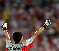Gelsenkirchen 9/6/2006 World Cup 2006<br /> <br /> Poland Ecuador - Polonia Ecuador 0-2<br /> <br /> Photo Andrea Staccioli Graffitipress<br /> <br /> Ecuador goalkeeper Cristian Mora celebrates victory at the end of the match