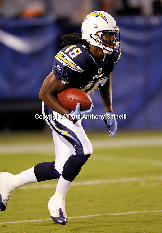 San Diego Chargers kick returner Richard Goodman (16) returns a kick during a NFL week 2 preseason football game against the Dallas Cowboys on Saturday, August 21, 2010 in San Diego, California. The Cowboys won the game 16-14. (©Paul Anthony Spinelli)