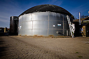 Biogas tank at the Sterksel Practise Center. Biogas extracted from pig faeces (slurry) is converted to bio energy at the Sterksel Practice Center (Praktijkcentrum Sterksel) in Sterksel, The Netherlands on 20 October, 2008. Beside their pig dairy farm that runs completely on bio energy, Sterksel Practice Center delivers bio electricity with a capacity for approximately 700 households.   (Photo by Michel de Groot)
