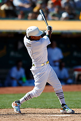 OAKLAND, CA - AUGUST 25: Khris Davis #2 of the Oakland Athletics at bat against the San Francisco Giants during the ninth inning at the RingCentral Coliseum on August 25, 2019 in Oakland, California. The San Francisco Giants defeated the Oakland Athletics 5-4. Teams are wearing special color schemed uniforms with players choosing nicknames to display for Players' Weekend. (Photo by Jason O. Watson/Getty Images) *** Local Caption *** Khris Davis