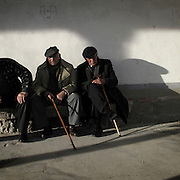Elder men in Carrion de los Condes, Palencia province, Spain . The WAY OF SAINT JAMES or CAMINO DE SANTIAGO following the French Route, between Saint Jean Pied de Port and Santiago de Compostela in Galicia, SPAIN. Tradition says that the body and head of St. James, after his execution circa. 44 AD, was taken by boat from Jerusalem to Santiago de Compostela. The Cathedral built to keep the remains has long been regarded as important as Rome and Jerusalem in terms of Christian religious significance, a site worthy to be a pilgrimage destination for over a thousand years. In addition to people undertaking a religious pilgrimage, there are many travellers and hikers who nowadays walk the route for non-religious reasons: travel, sport, or simply the challenge of weeks of walking in a foreign land. In Spain there are many different paths to reach Santiago. The three main ones are the French, the Silver and the Coastal or Northern Way. The pilgrimage was named one of UNESCO's World Heritage Sites in 1993. When there is a Holy Compostellan Year (whenever July 25 falls on a Sunday; the next will be 2010) the Galician government's Xacobeo tourism campaign is unleashed once more. Last Compostellan year was 2004 and the number of pilgrims increased to almost 200.000 people.
