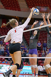 18 November 2016:  Ali Line and Kayla Henline(13) & Bri Weber during an NCAA women's volleyball match between the Northern Iowa Panthers and the Illinois State Redbirds at Redbird Arena in Normal IL (Photo by Alan Look)