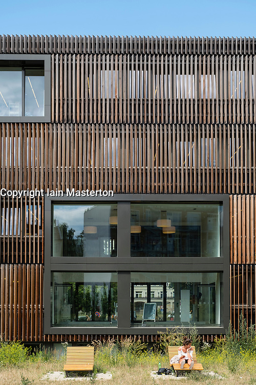 New wood clad modern Pablo Neruda public library in Friedrichshain district of Berlin Germany