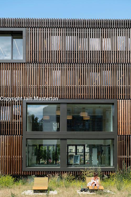 New wood clad modern Pablo Neruda public library in Friedrichshain district of Berlin Germany