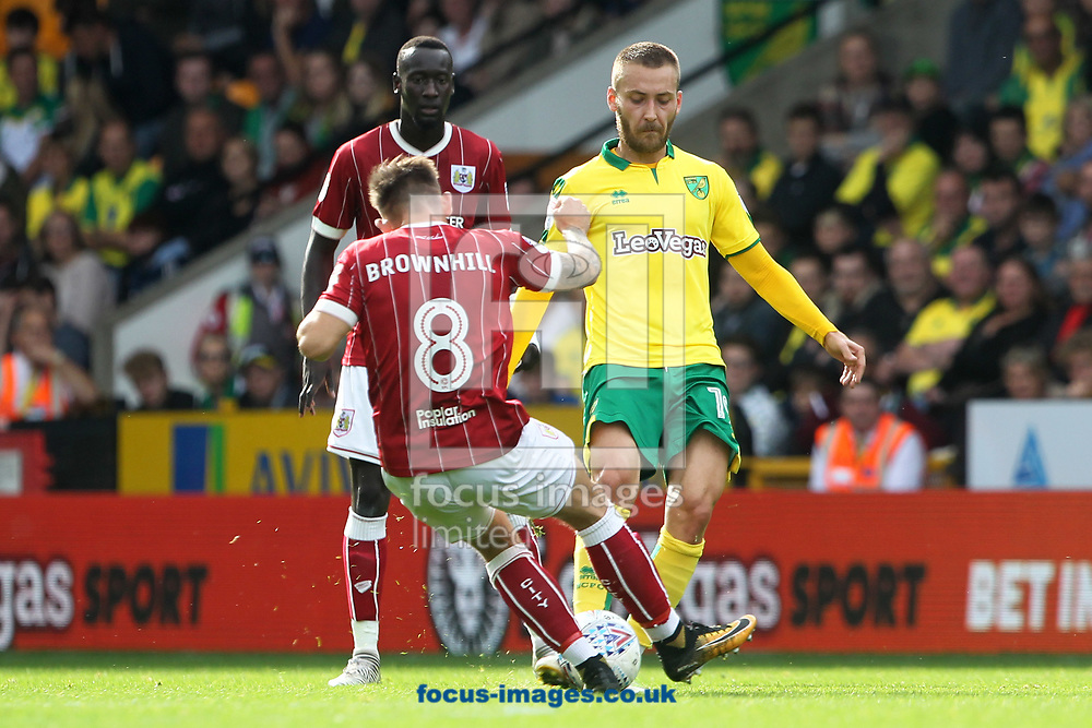 Tom Trybull of Norwich and Josh Brownhill of Bristol City in action during the Sky Bet Championship match at Carrow Road, Norwich<br /> Picture by Paul Chesterton/Focus Images Ltd +44 7904 640267<br /> 23/09/2017