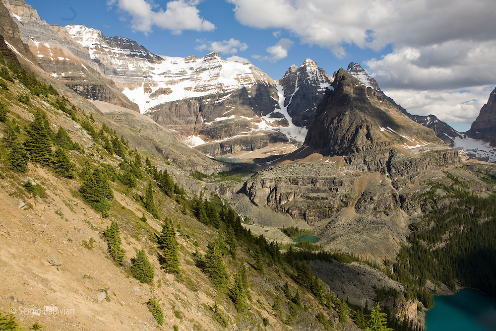 Views of Lake O'Hara and the surrounding alpine terrain in Yoho National Park, British Columbia, Canada