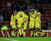 Photo: Andrew Unwin.<br /> Sunderland v Liverpool. The Barclays Premiership.<br /> 30/11/2005.<br /> Liverpool's Steven Gerrard (#8) points to his team-mate, Xabi Alonso (#14) as he celebrates his team's second goal.