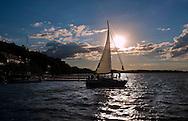 Sailing in Lake Mendota near the UW-Madison Memorial Union.