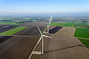Nederland, Flevoland, Zeewolde, 28-10-2014;  Amalia windpark.<br /> Windfarm.<br /> <br /> luchtfoto (toeslag op standard tarieven); aerial photo (additional fee required); copyright foto/photo Siebe Swa