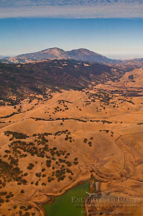 Aerial over Los Vaqueros Reservoir and Mount Diablo, Contra Costa County, California
