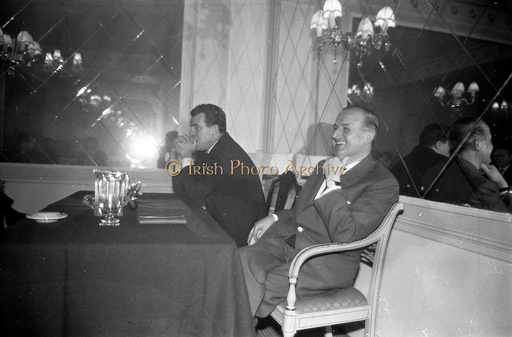 08/02/1963<br /> 02/08/1963<br /> 08 February 1963<br /> Mr Kevin McCourt (right) the new Director-General of Telefis Eireann during his press conference at the Gresham Hotel, Dublin. On left is Mr. Eamon Andrews, Chairman of the R.E. Authority.