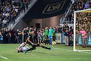 LAFC defender Eddie Segura (4) misses a cross against Houston Dynamo during a MLS soccer game, Saturday, Sept 25, 2019, in Los Angeles. LAFC wins 3-1. (Jon Endow/Image of Sport)