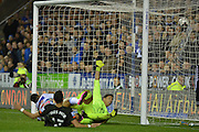 a scramble in the goalmouth  and Reading's Nick Blackman scores during the Capital One Cup match between Reading and Everton at the Madejski Stadium, Reading, England on 22 September 2015. Photo by Mark Davies.