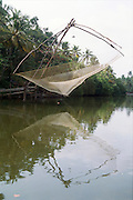 Fishing net in the backwaters, India, Kerala, a state on the tropical coast of south west India