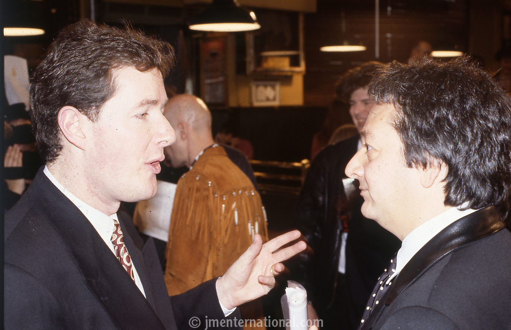 Piers Morgan and Rob Dickings, The BRIT Awards Launch 1993 <br /> Monday 11 Jan 1993.<br /> The Hard Rock Cafe, London, England<br /> Photo: JM Enternational