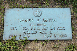 31 August 2017:   Veterans graves in Park Hill Cemetery in eastern McLean County.  James E Smith  Illinois  Private First Class  634 AAA AW BN CAC  World War II  Dec 2 1918  Nov 17 1958