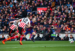March 18, 2018 - Barcelona, Spain - Andres Iniesta, Nunez and De Marcos  during the match between FC Barcelona and Athletic Club, played at the Camp Nou Stadium on 18th March 2018 in Barcelona, Spain. (Credit Image: © Joan Valls/NurPhoto via ZUMA Press)