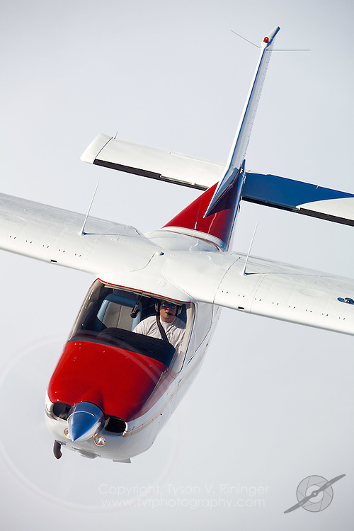 Erick Teeters pilots this 1974 Cessna 177RG Cardinal, N2591V, over the Central California coast.